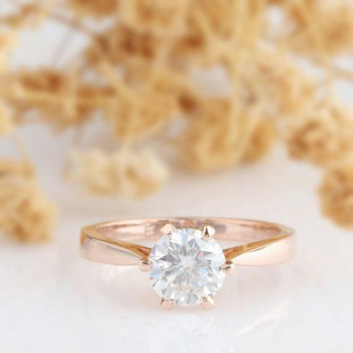 Moissanite Solitaire Ring, Round 1CT Esdomera Moissanite Solitaire 6 Prong Ring, Solid 14k Rose Gold Wedding Engagament Ring, Promise Ring