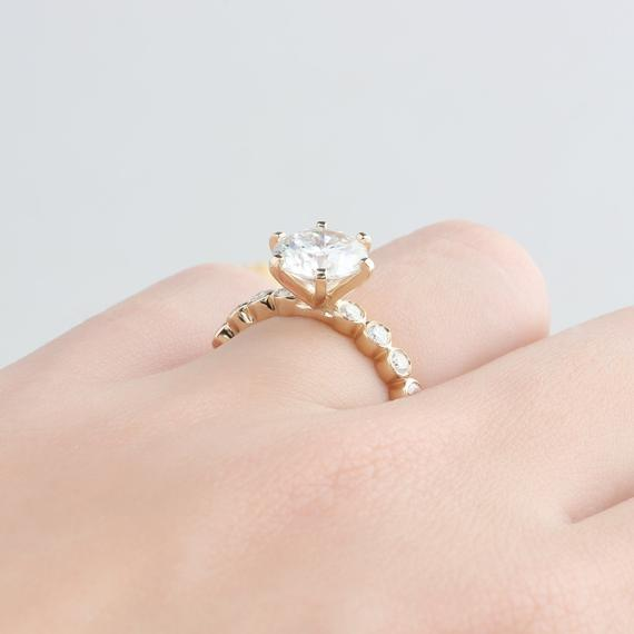 6 Prong Round Cut 2 CT Moissanite Ring, Bead Bezel Engagement Ring