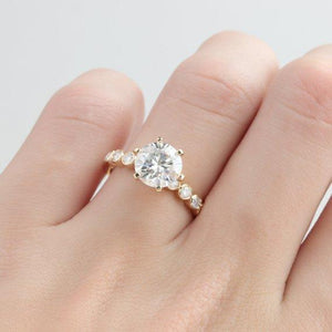 2.0CT Round Cut Moissanite Engagement Ring, 6 Prongs Bezel Set Ring