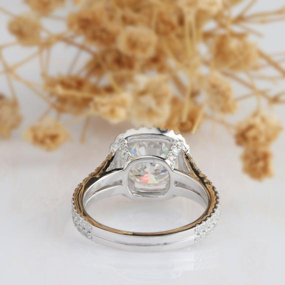 Halo 3ct Round Moissanite Ring, Accents Design Ring, Split Shank Ring