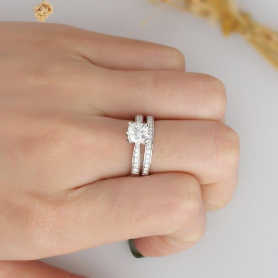 Cushion Cut 1.1CT Moissanite Ring, Channel Set Engagement Ring, Promise Ring
