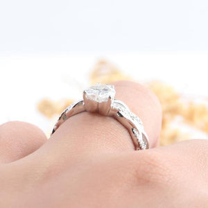 Heart Shape 1CT Moissanite Engagement Ring, Rope Style Promise Ring