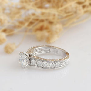 Round Cut 1.5ct Esdomera Moissanite Ring, Filigree Ring, 14k White Gold Engagament Ring