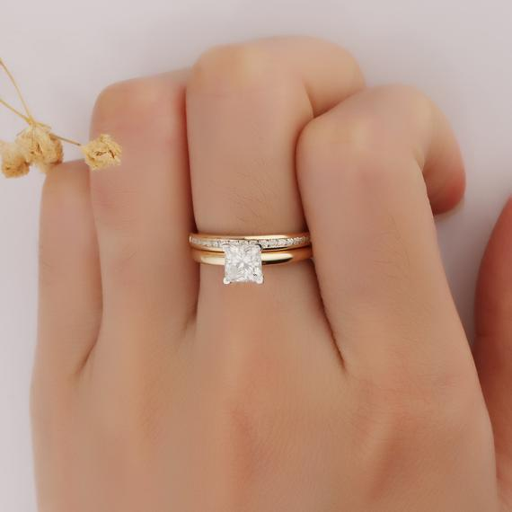 Princess Cut 1 CT Moissanite Wedding Set, 14k Two Tone Gold Wedding Ring