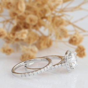 Round Cut 1.5 CT Moissanite Ring, Bridal Set, Halo Engagement Ring