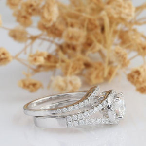 Round 1ct Esdomera Moissanite Ring, Halo Style Split Shanks Ring, Bridal Set