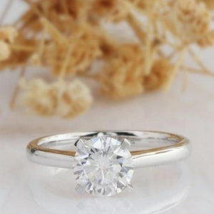 Round Cut 1 CT Moissanite Ring, 4 Prongs Engagement Ring, Promise Ring