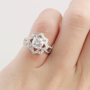 Round Cut 1 CT Moissanite Floral Lotus Accents Engagement Ring