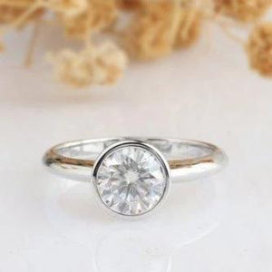 Round Cut 1 CT Moissanite Ring, Solitaire Full Bezel Ring, 14k Gold Engagement Ring