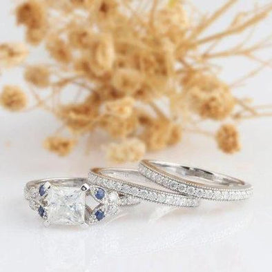 Moissanite Bridal Set, Princess Cut 2 CT Esdomera Moissanite Ring, Vintage Filigree Blue Sapphire Accents, 14k White Gold 3pcs Wedding Set
