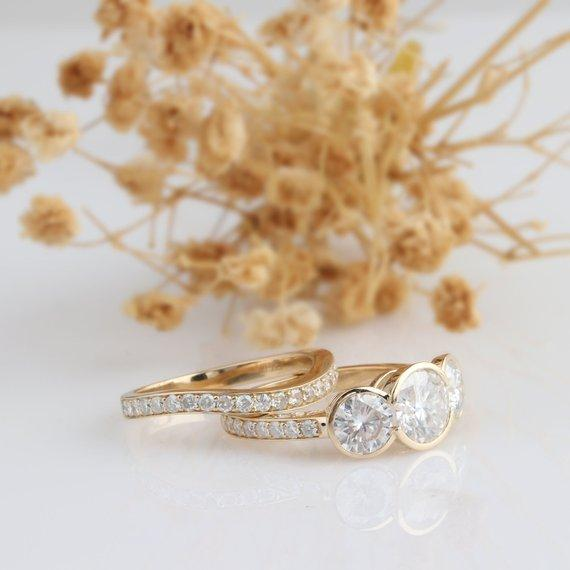 1.5CT Round Cut Moissanite Engagement Ring, Bezel 3 Stones 14k Yellow Gold Ring