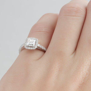 Princess Cut 0.8 CT Esdomera Moissanite Ring, Halo Promise Ring
