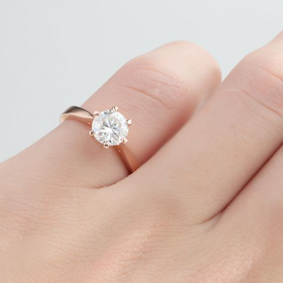Round 1CT Esdomera Moissanite Ring, Solitaire 6 Prong Ring, Promise Ring