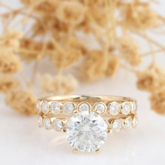 Round Cut 2 CT Esdomera Moissanite Ring, Bead Bezel Set Ring, Bridal Set