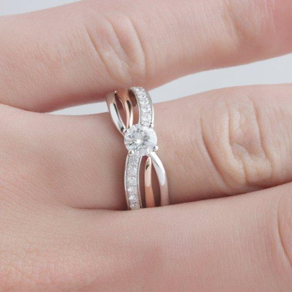 Round Cut 0.5ct Moissanite Ring, 14k Two Tone Gold Engagement Ring