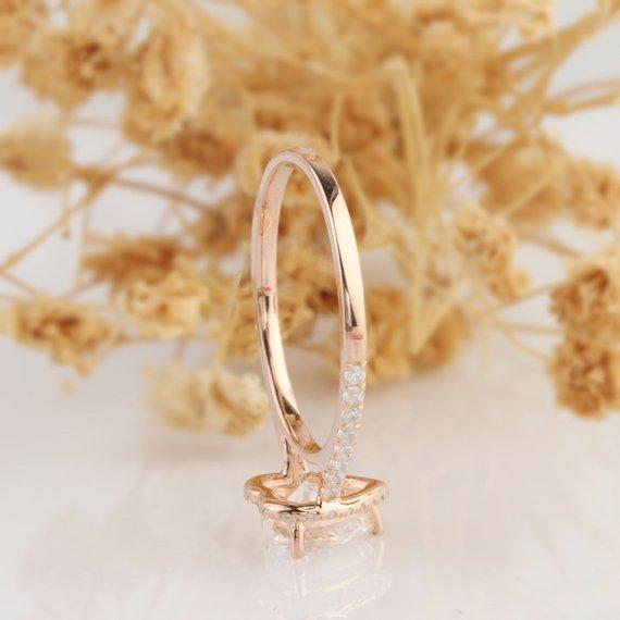 Halo Heart Shape 1 CT Moissanite Engagament Ring, 14k Rose Gold Wedding Ring