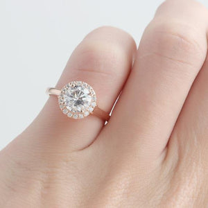 Round 1.25CT Moissanite Ring, Halo Pave Accents Plain Band Ring