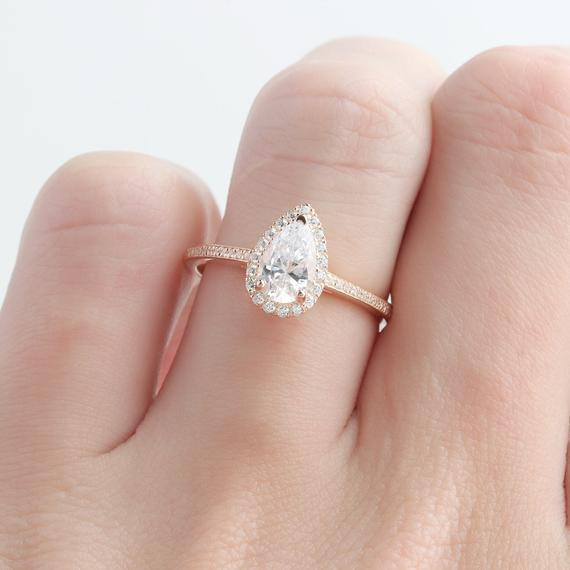Pear Cut Moissanite Ring, Drop Shape 5x8mm Moissanite Wedding Ring