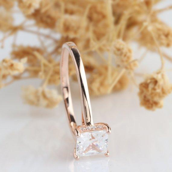 Princess Cut 6mm Moissanite Ring, 4 Prong Solitaire Ring, Engagement Ring