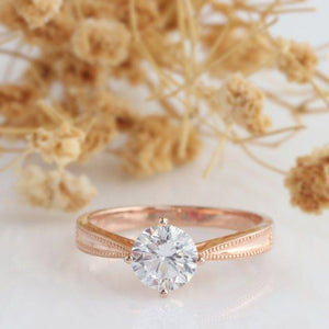 Round 1CT Moissanite Ring, Vintage Crown 4 Prongs Ring, Vintage Ring