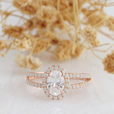 Oval Moissanite Ring, Oval Cut 5x7mm Halo Moissanite Ring, Art Deco Pave Set Accent Ring, 14k Rose Gold, 4 Prong Wedding Engagament Ring