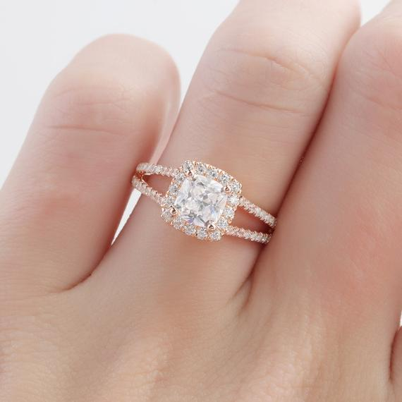 Halo Cushion Cut 6mm Moissanite Ring, Split Shanks 14k Rose Gold Ring