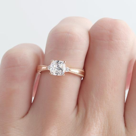 Cushion Cut 6mm Moissanite Wedding Ring, Vintage Engagement Ring