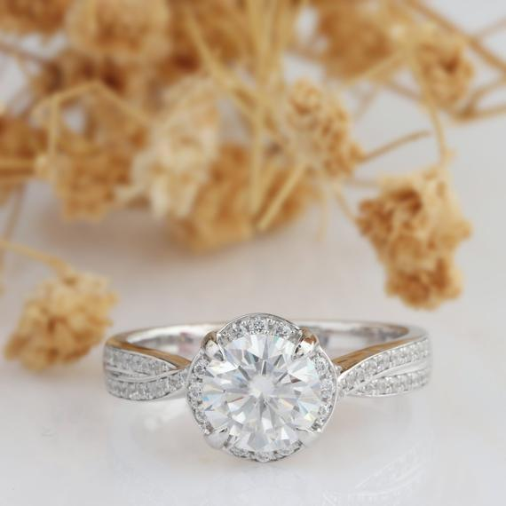 Halo Round Cut 1ct Moissanite Ring, Vintage Style Promise Ring