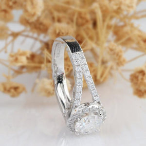 Round 1ct Moissanite Ring, Halo Style Split Shanks Wedding Ring