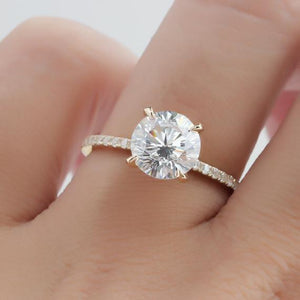 2.0CT Round Cut Moissanite Accents Ring, 4 Prongs Pave Set Engagement Ring