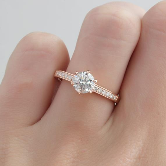 Round Cut 0.8ct Moissanite Channel Set Accents Stack Promise Ring