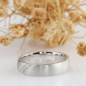 Simple Men's Band, Round Accents Moissanite Ring, 14k White Gold Band