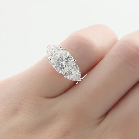 Cushion Cut 8mm Moissanite Engagement Ring, 6mm Trillion Cut Wedding Ring