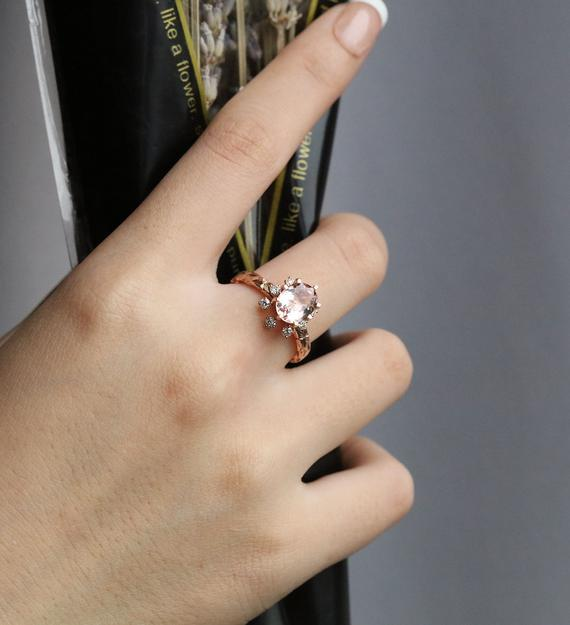 Vintage Oval Cut Art Deco Pink Morganite Engagement Ring