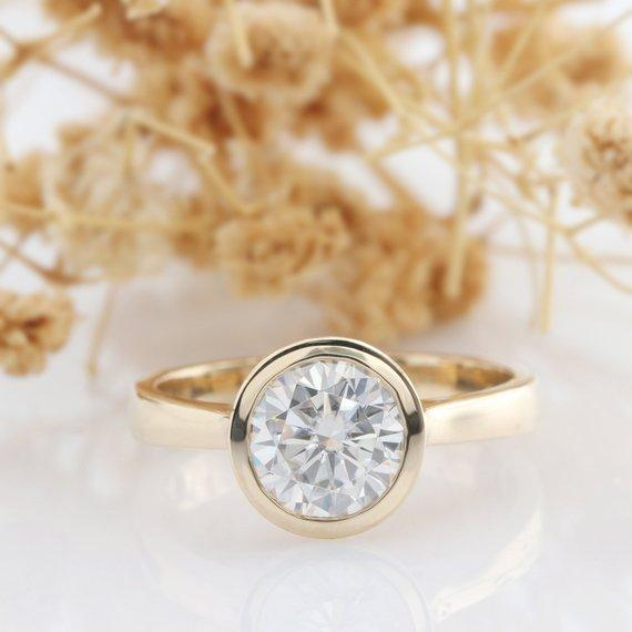Round Cut 1.5ct Moissanite Ring, Solitaire Bezel Style 14k Rose Gold Ring, Engagement Ring