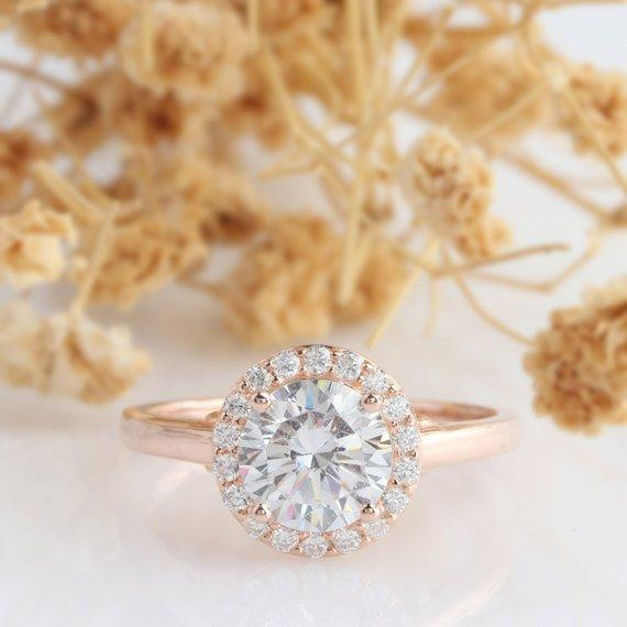 Moissanite Halo Ring, Round 1.25CT Esdomera Moissanite Ring, Halo Pave Set Accents Plain Ring, 14k Rose Gold Engagament Ring, Promise Ring