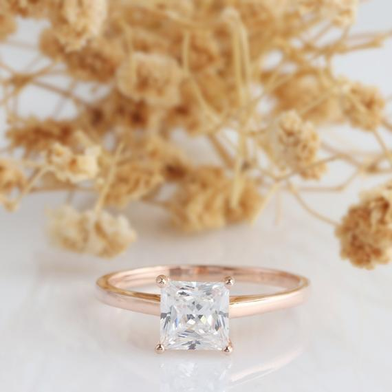 Square Moissanite Ring, Princess Cut 6mm Esdomera Moissanite Ring, 4 Prong Solitaire Ring, 14k Rose Gold, Art Deco Wedding Engagament Ring