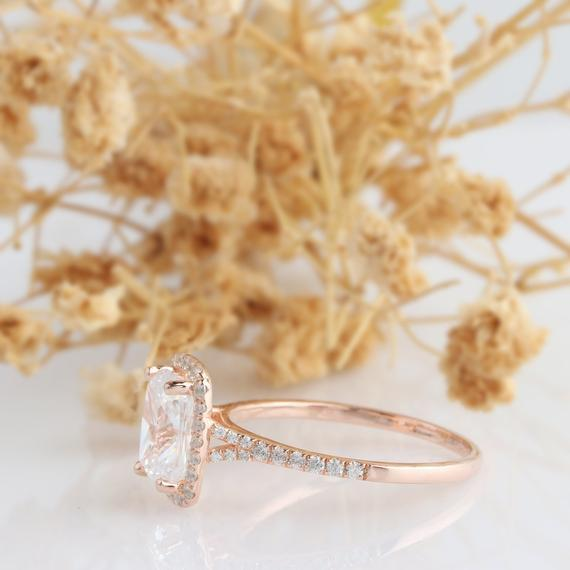 Long Cushion Cut 7x8mm Moissanite Ring, Halo Accents Engagament Ring