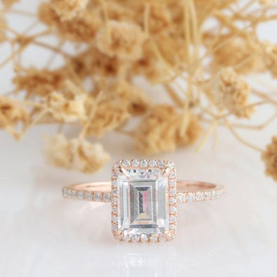 Emerald Moissanite Ring, Halo Emerald Cut 6x8mm Esdomera Moissanite Ring, 14k White Gold, Art Deco Engagement Ring, Pave Accent Pomise Ring