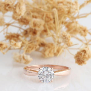 Round 6.5mm Moissanite Ring, Simple 4 Prongs Wedding Ring