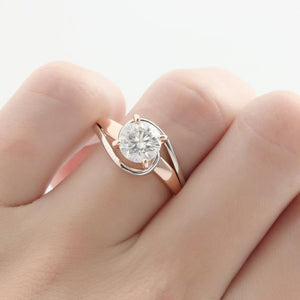 1.5CT Round Cut Moissanite Wedding Ring, 14k Two Tone Gold Engagament Ring