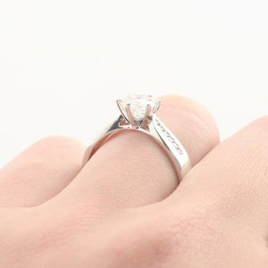 Round 1 CT Esdomera Moissanite Ring, 6 Prongs Accents Design Engagement Ring