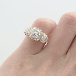 1.0CT Round Cut Moissanite Wedding Ring, 3 Stone Halo Engagement Ring