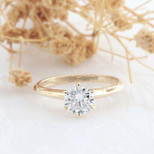 Round Cut 1CT Moissanite Ring, Classic 6 Prongs Wedding Ring, Solitaire Ring