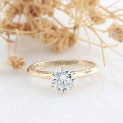 Moissanite Solitaire Ring, Round Cut 1CT Moissanite Classic 6 Prongs Solitaire 14k Gold Wedding Engagament Ring, Wedding Ring, Promise Ring