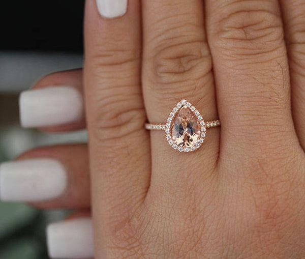 Pear Cut 10x7mm 2 Carat Pink Morganite Gemstone Engagement Ring Diamond Accents