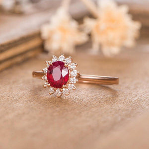 Round Cut Lab Created Ruby 6mm Halo Diamond Engagement Wedding Ring