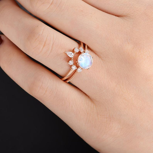 Moonstone 7mm Bridal Sets Diamond Curved Crown Band Marquise Wedding Ring