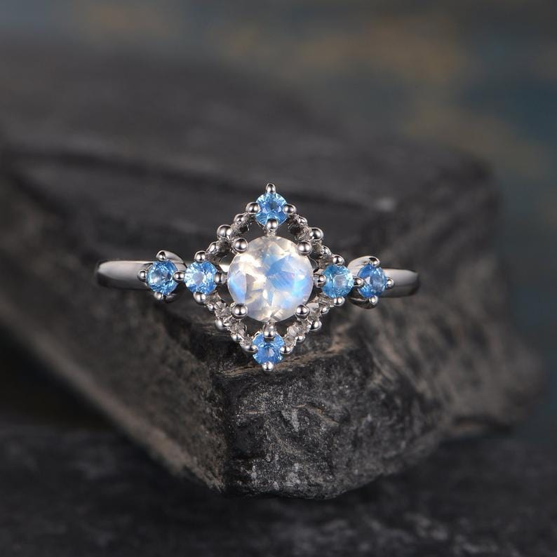 Rainbow 5mm Moonstone Half Eternity Blue Topaz Engagement Ring