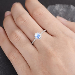 Round Moonstone 6mm Halo Engagement Ring Vintage Diamond Wedding Ring